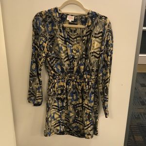 Parker Printed Long Sleeve V-Neck Dress Size Small
